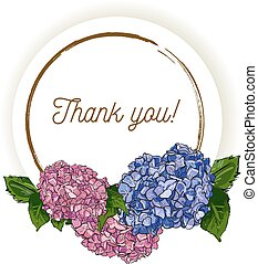 Natural vintage greeting card with inscription of words Thank you with blue and pink hydrangea . Vector hand draw watercolor style illustration of hortensia in round frame.