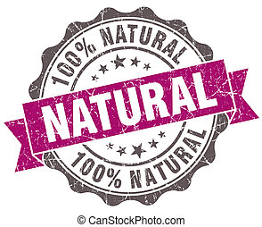 Natural violet grunge retro style isolated seal