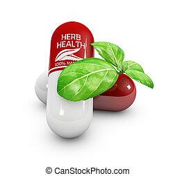 Natural vitamin pills, Alternative medicine. 3d Illustration