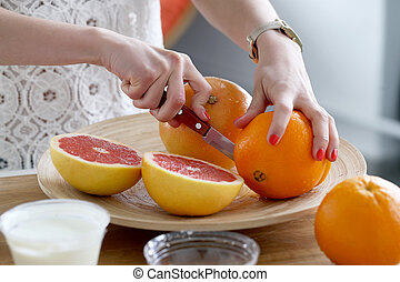 Delicious oranges on the table