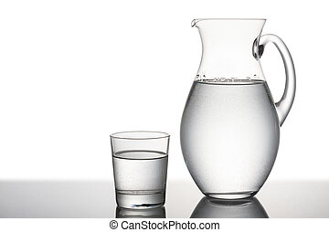 jug and glass full of water, on white background