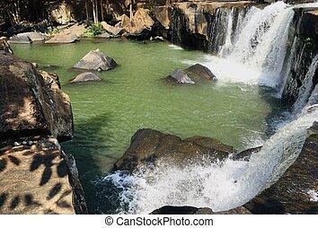Beautiful natural waterfall fresh and cool, top view (Tat ton national park, Thailand)