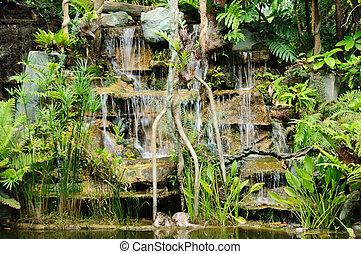 Natural waterfall in garden