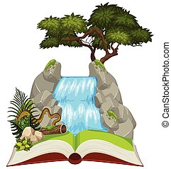 Natural waterfall on open book