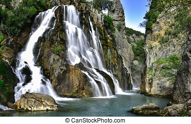 natural waters of the waterfall from the source - peace...