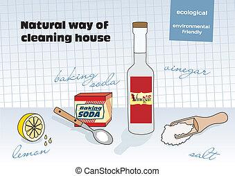 Natural way of cleaning house; vinegar, lemon, salt, baking...