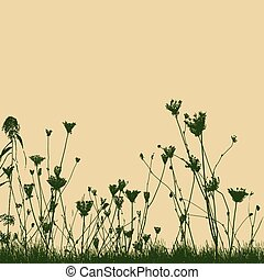 Natural wild plants on grass silhouette