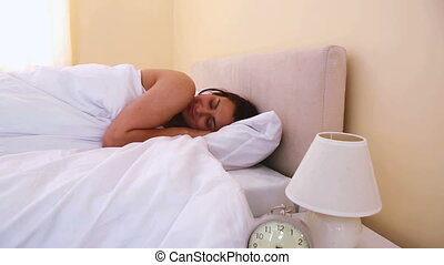 Natural woman waking up