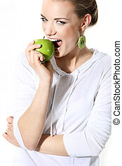 natural woman with apple