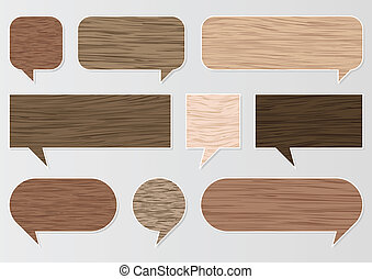 Natural wood texture speech bubbles and balloons...