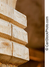 natural wooden pillar close-up carved vertical photo pattern country building