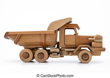 Natural wooden toy car, a white background isolated