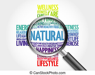 NATURAL word cloud with magnifying glass
