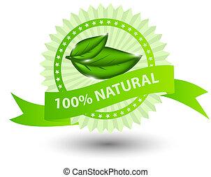 naturale, 100%, isolato, illustrazione, etichetta, verde,...