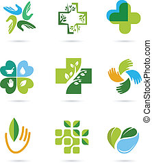 naturale, alternativa, medicina erbe, icone