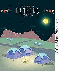 naturale, atmosphere., campeggio
