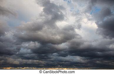 naturale, background:, cielo tempestoso