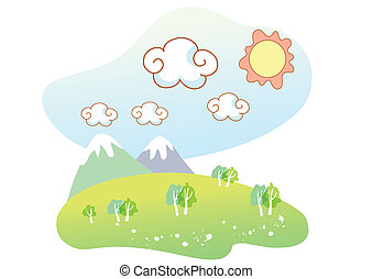 naturale, cartone animato, paesaggio