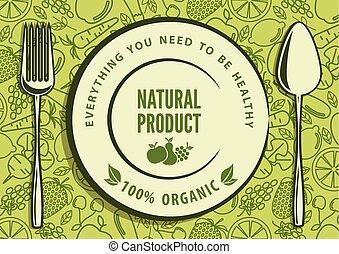 naturale, cibo, concept., organico, illustrazione, vettore, disegno
