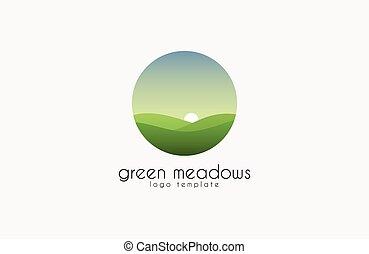naturale, colline, agriculture., eco, sole, simbolo, -, ecologico, produzione, sfondo verde, logotipo, organico, template., paesaggio