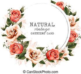 naturale, colorito, vendemmia, augurio, flowers., vector., scheda