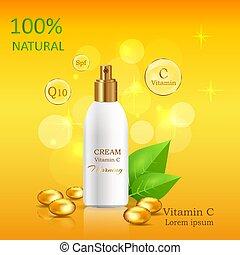 naturale, crema, con, vitamina c, in, lucido, tubo, vettore