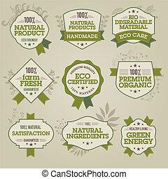 naturale, etichette, set