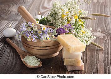 naturale, fatto mano, products., erbaceo, terme, sapone