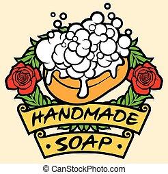 naturale, fatto mano, sapone, etichetta