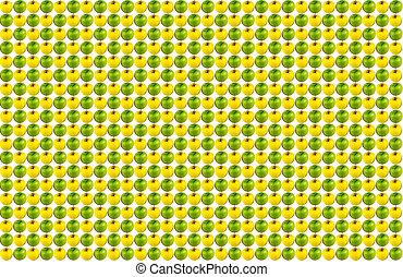 naturale, mela, sequenza, modello, verde giallo, fondo, infinito, bianco