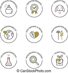 naturale, organico, icone, prodotto, skincare
