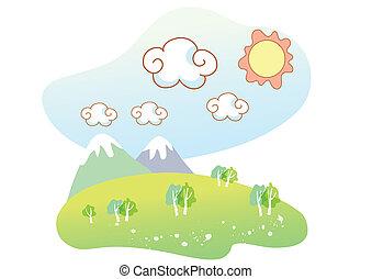 naturale, paesaggio, cartone animato