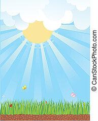 naturale, paesaggio., fondo, estate, vettore, cartoni animati
