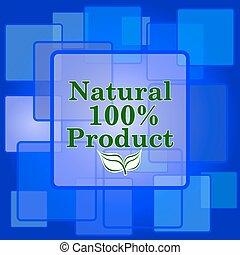 naturale, percento, icona, prodotto, 100