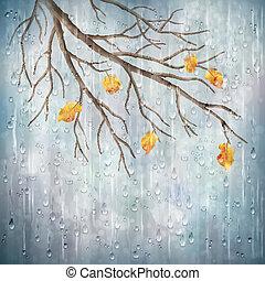 naturale, pioggia, autunno, vettore, disegno, artistico,...