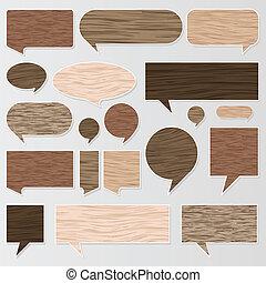naturale, tessuto legno, discorso, bolle, vettore