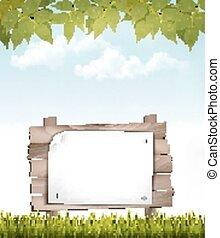 naturale, vector., legno, segno., fondo, foglie