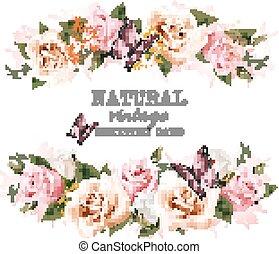 naturale, vendemmia, augurio, roses., vector., scheda