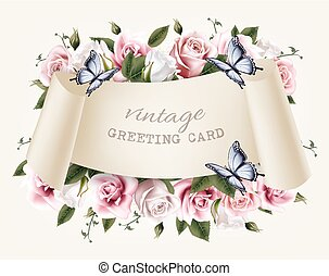 naturale, vendemmia, cornice, augurio, rose, vector., butterfly.