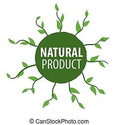 naturale, vettore, prodotti, floreale, logotipo, rotondo