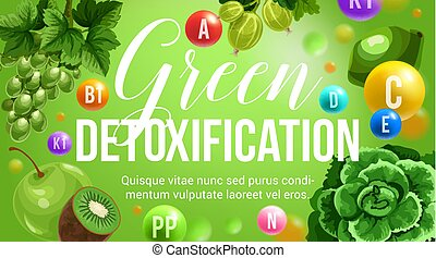 naturale, vitamina, dieta, vettore, verde, detoxification