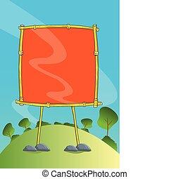 naturaleza, bambú, signage, ilustración