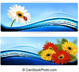 naturaleza, banderas, con, color, flowers., vector.