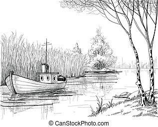 naturaleza, bosquejo, delta, río, o, barco