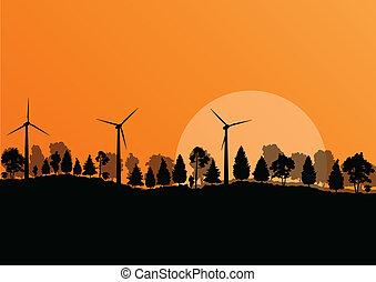 naturaleza, electricidad, energía, ilustración, campo, ...