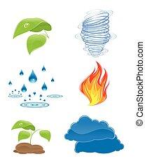 naturaleza, elementos, iconos
