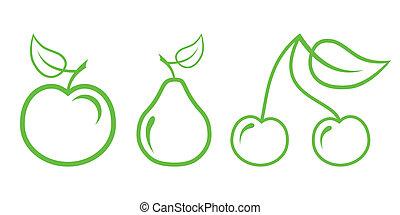 naturaleza, -, fruta, 2, verde, icons., parte