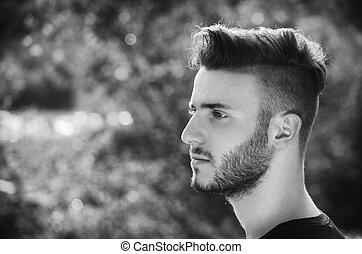 naturaleza, joven, aire libre, retrato, hombre, guapo