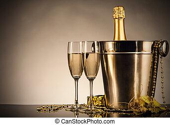 naturaleza muerta, champaña, tema, celebración