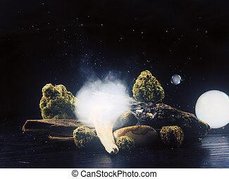 naturaleza muerta, con, cannabis, nugs, y, humo, encima,...
